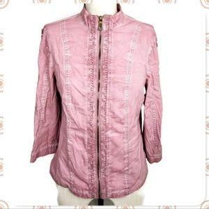 XCVI Zip-Up Cotton Boho Jacket M Mauve Pink